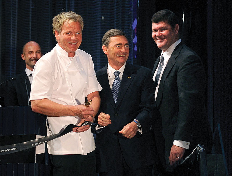 Gordon Ramsay, Premier John Brumby and James Packer at the official opening of Crown Metropol and Ramsay's maze and maze Grill in April 2010.