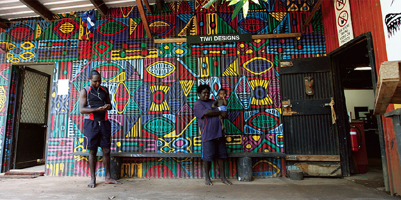 Colourful murals outside Tiwi Designs on Bathurst Island.