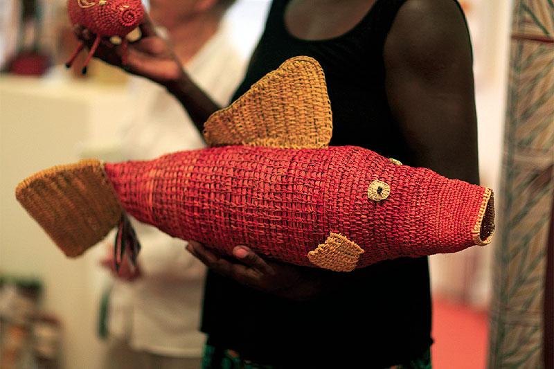 One of Judy Gurruwiwi's new rock cod fibre sculptures.