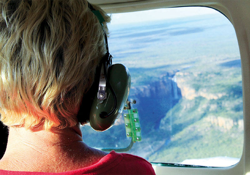 Joy Eggenhuizen looks down over Kakadu's Twin Falls.