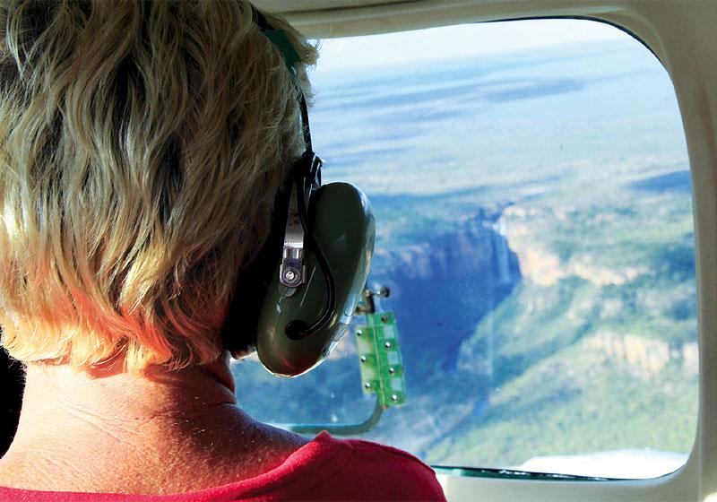 Joy Eggenhuizen looks down over Kakadu's Twin Falls.