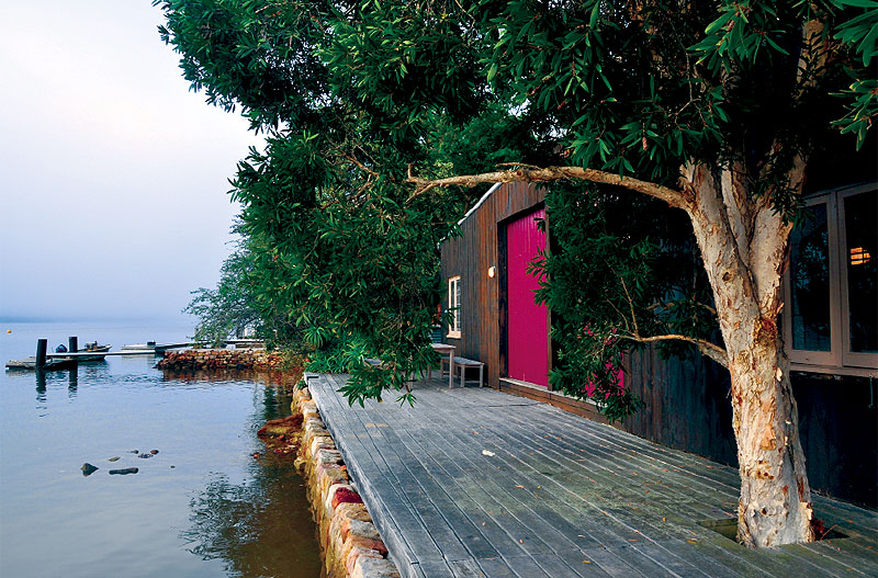 Oxley Boatshed's private jetty and timber decking.