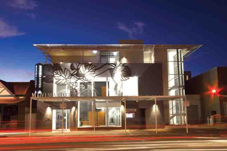 The funky looking and yet incredibly cheap Majestic Minima Hotel Adelaide