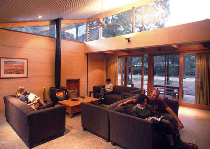 Cosy fireplace and lounge at the Grampians YHA
