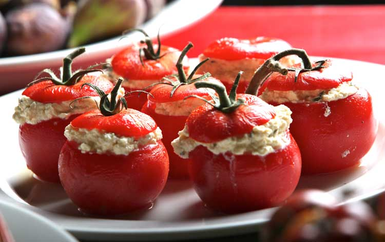 Gorgeous garden grown stuffed tomatoes at Bella Vedere Cucina