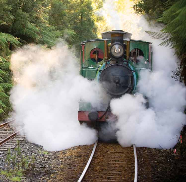 The immaculately restored West Coast Wilderness Railway