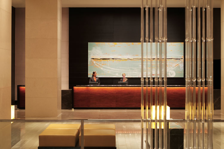 The lobby of the hot Grand Hyatt Melbourne