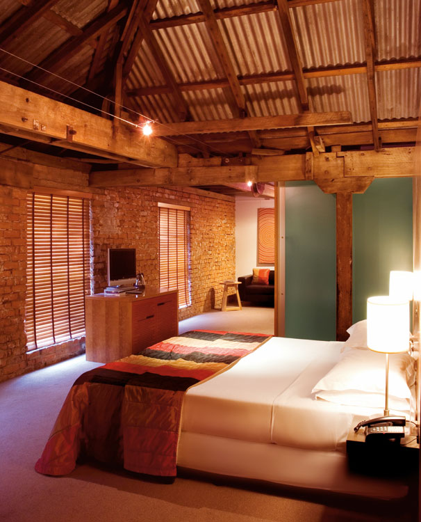 The rooms at the Henry Jones make the most of the heritage listed internal structures