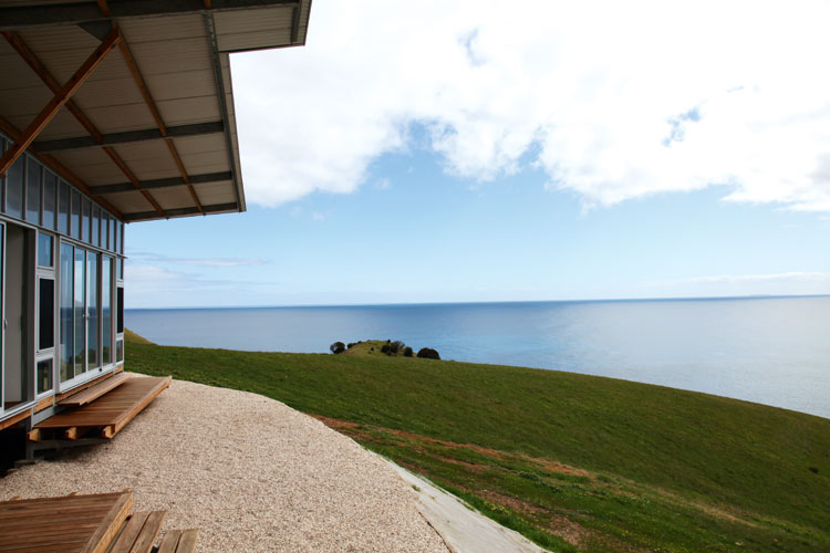 The balcony at one of the three kangaroo Beach Lodges that peers over the beach