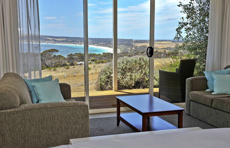 Seascape Lodge bedroom with a view.
