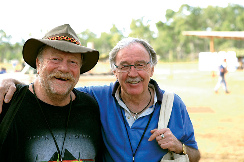 Jack Thompson has tried for years to get good friend George Negus along to a Garma Festival. Now George is a convert. Image by Xavier Jefferson