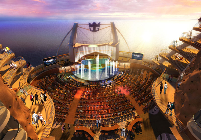 Artist's impression of a night time water show in the ship's Aqua Theatre