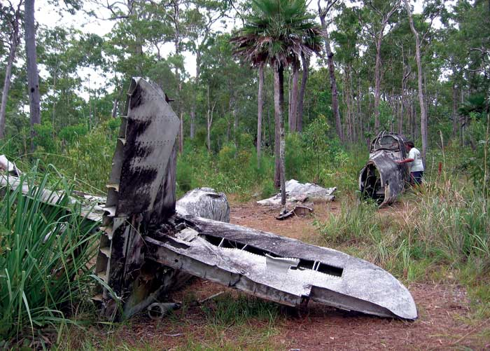 Near Bamaga airstrip in Cape York, the scattered remains of crashed Bristol Beaufort bombers and a DC-3 can still be seen