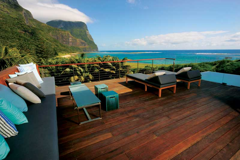 The Deck at Capella Lodge Lord Howe Island, vies with Arajilla for the most upmarket accommodation on the island.