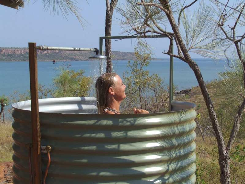 Shower with a view: Faraway Bay.