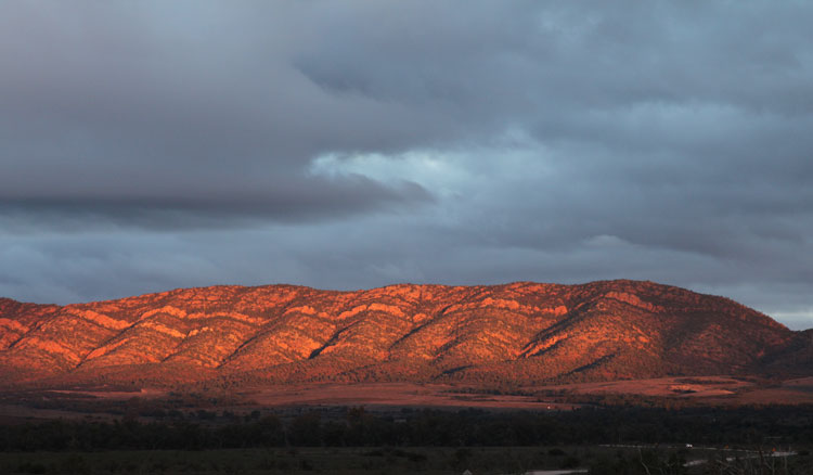 The Sunsets on the beautiful Chase Ranges facing Wilepna Pound and the Elder Ranges