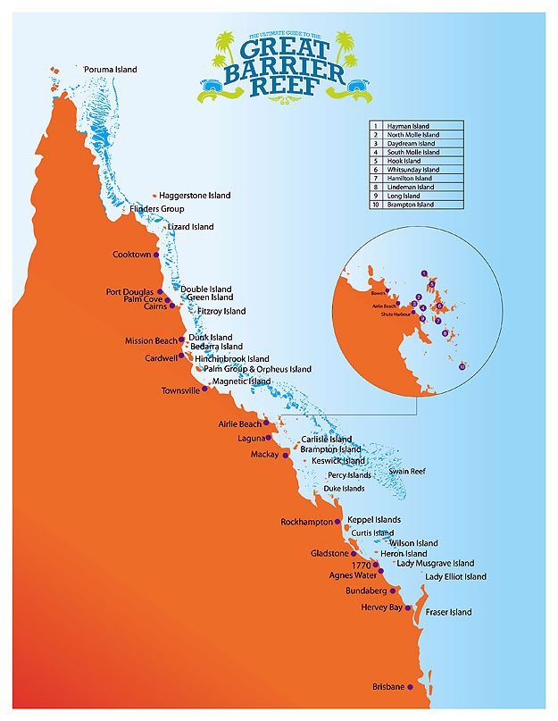 The Great Barrier Reef Marine Park. Map by Mitch Crowle
