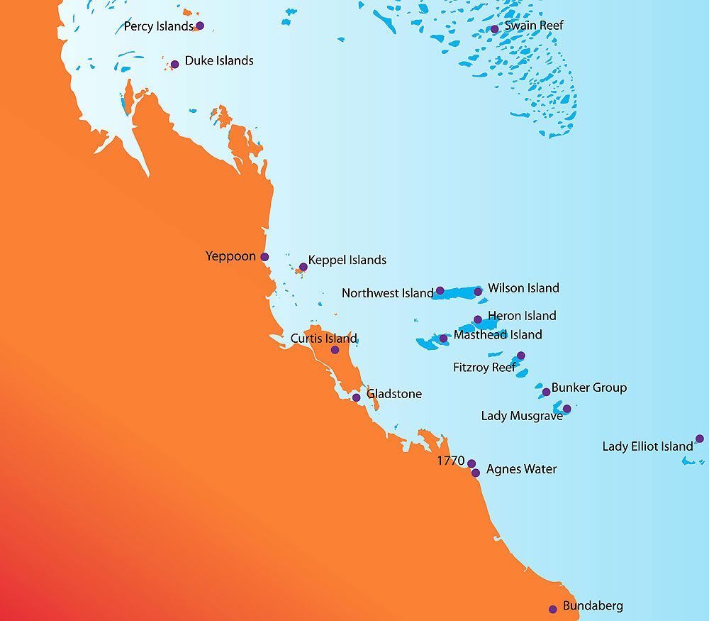 Southern Great Barrier Reef Marine Park. Map by Mitch Crowle