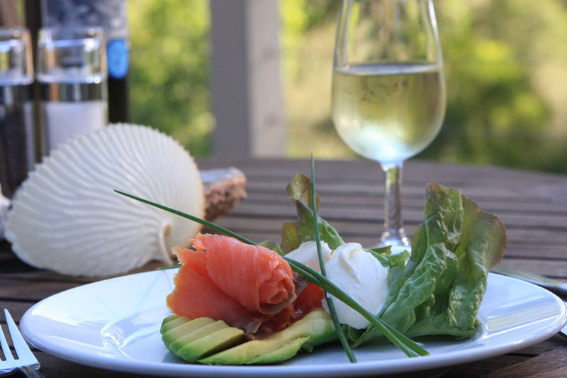 Three-course dinner on the deck is all part of the experience; Gipsy Point Lodge, Mallacoota