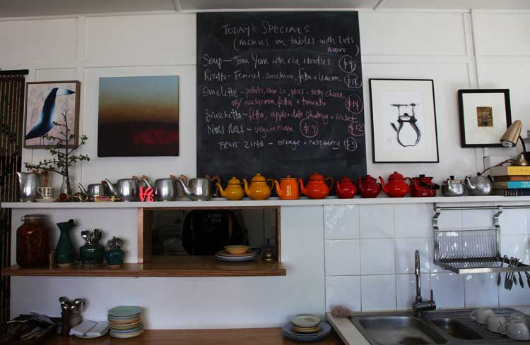 The organic cafe Inner Biscuit has a quirky collection of old teapots