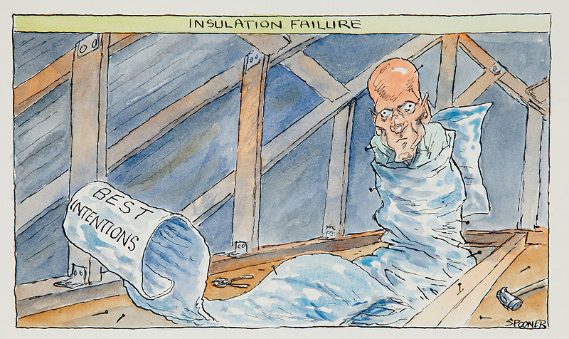 Spooner (Australia, b.1946) Insulation Failure, 13 February 2010 pen and ink and watercolour on paper Private collection