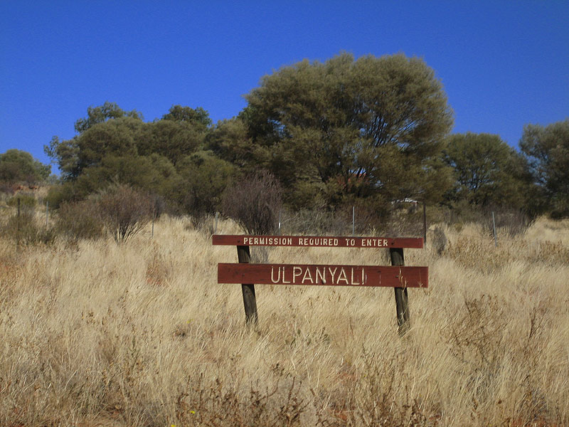 Entering Ulpanyali, an Aboriginal community in Kings Canyon where Micah and Patrick live.