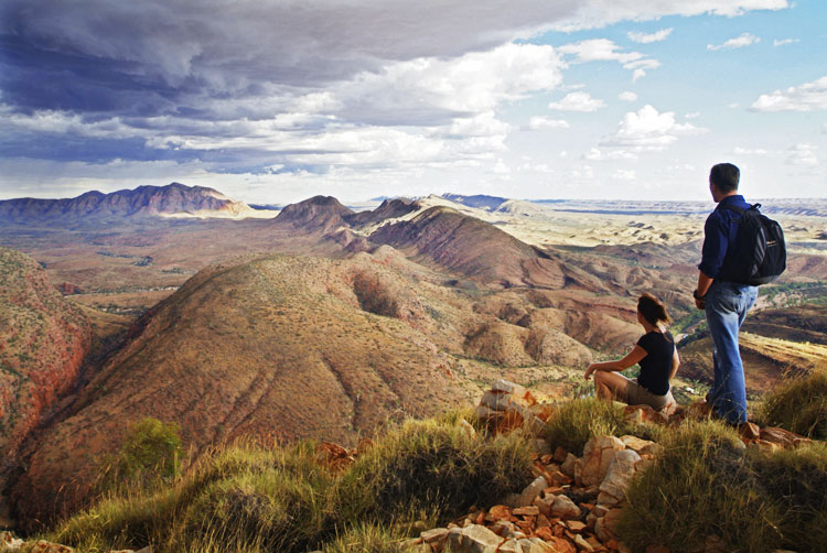 The panoramic view over Ormiston Gorge from the legendary Larapinta Trail.