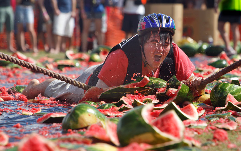 Bi-annually, the tiny country town of Chinchilla on the Queensland Downs holds a watermelon festival.  This gent has taken a tumble from his 'watermelon skis' and is quite obviously in a very sticky situation! By Cathy Finch
