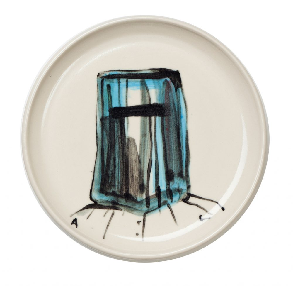 Ned Kelly Plate designed by Adam Cullen with potter Lyn Hart