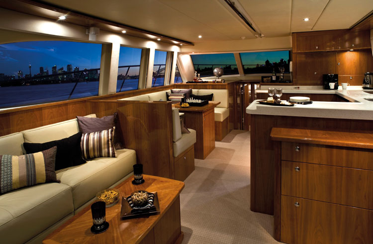 The luxury interior of the MV Pisces