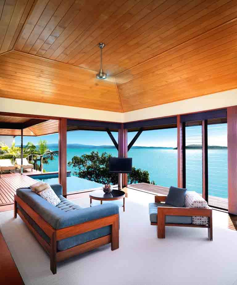 The living space and private plunge pool at a Windward pavilion at qualia