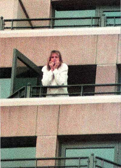 A snap from People magazine of Debbie Rowe after marrying Michael Jackson on the balcony of Sheraton on the Park
