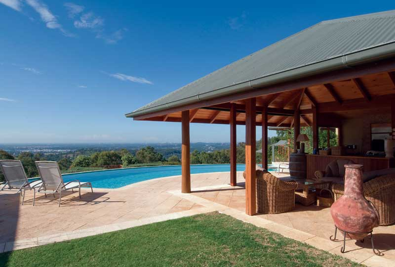 The GC hinterland's five star retreat Ruffles Lodge has sweeping views down to the coast