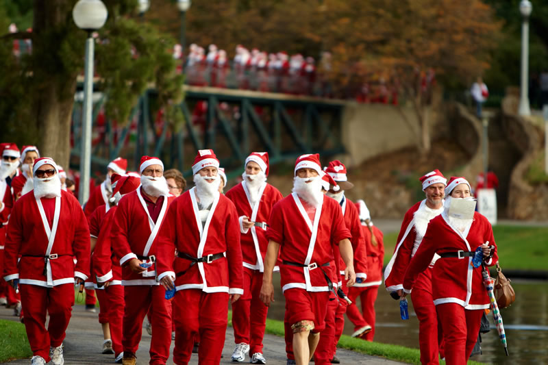 The Santa Fun Run in November around the Torrens in Adelaide