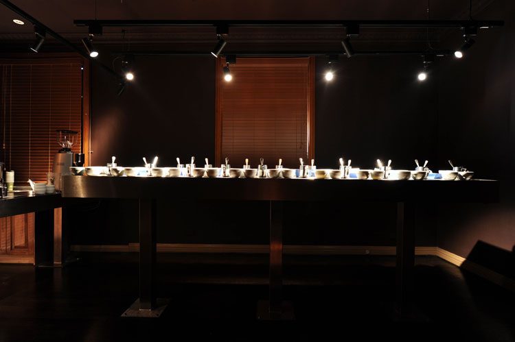 The cupping room where coffee tasting and judgement is held
