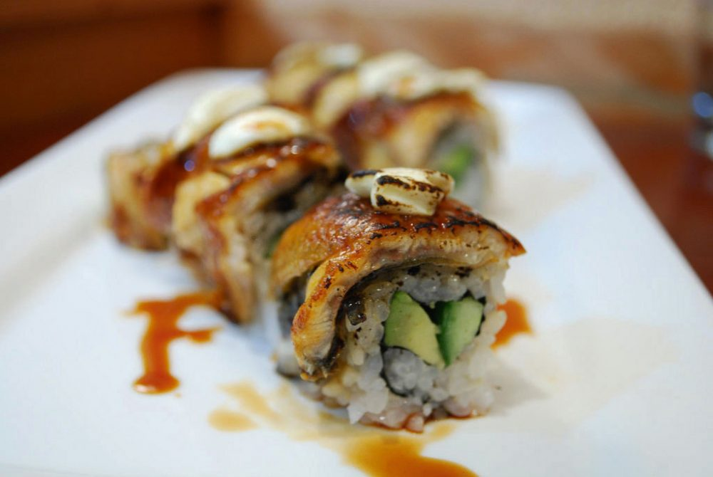 Unagi cream cheese sushi roll at Jugemu and Shimbashi, Neutral Bay, Sydney.