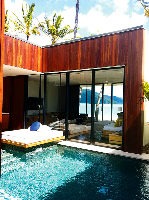 The luxe pool courtyard at Hayman Island Beach Villas.