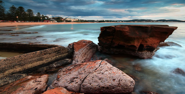 Sunset over the local ocean baths at Terrigal on the NSW Central Coast.