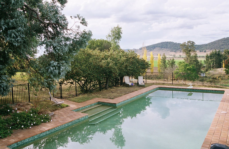 The large pool at The Church retreat overlooks the valley