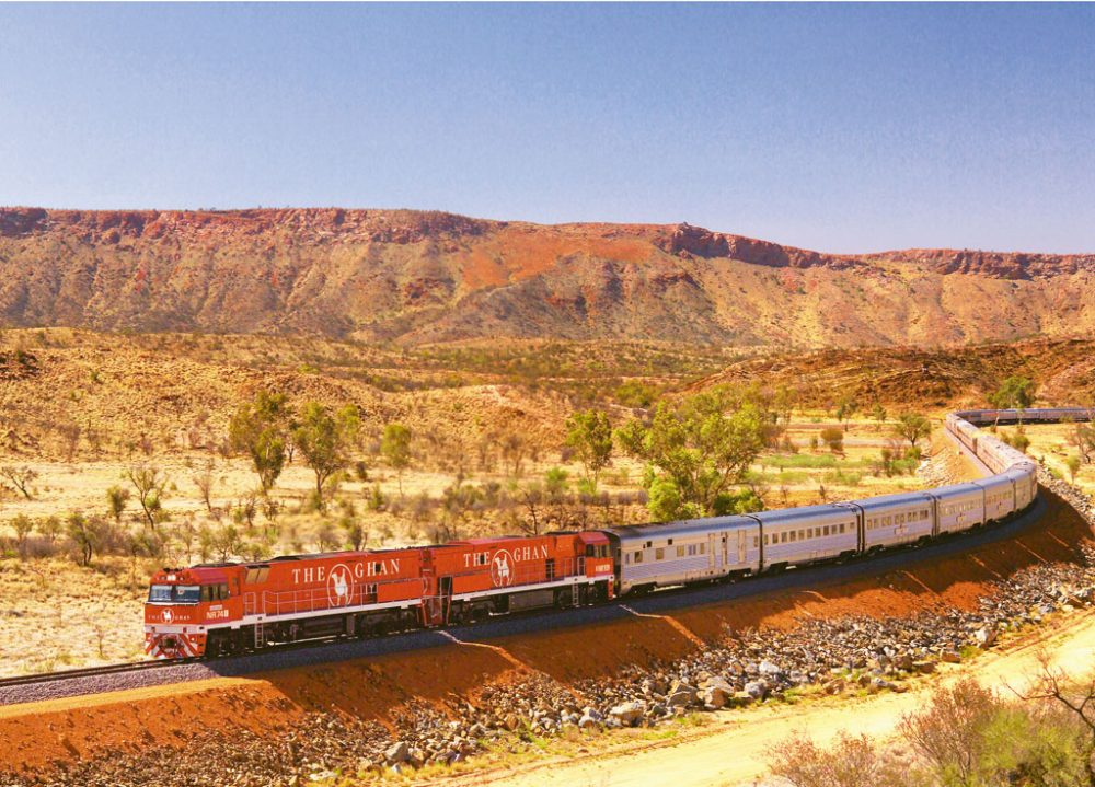 The Ghan on the MacDonnell Ranges near Alice Springs