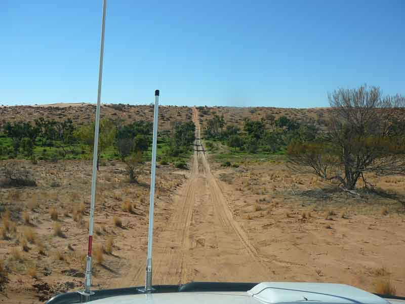 Driving into the Simpson Desert