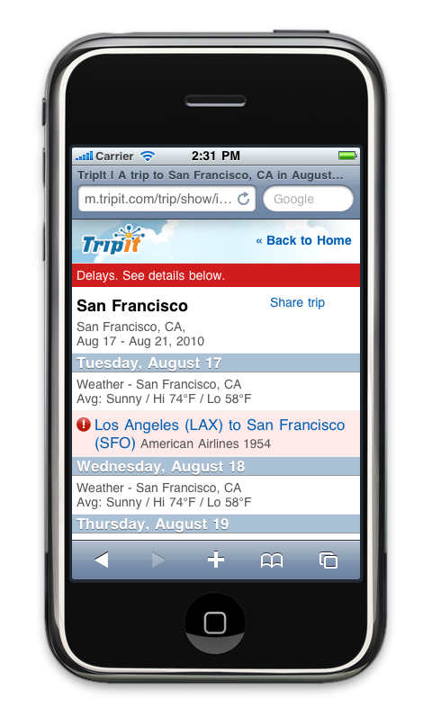 The TripIt iPhone App