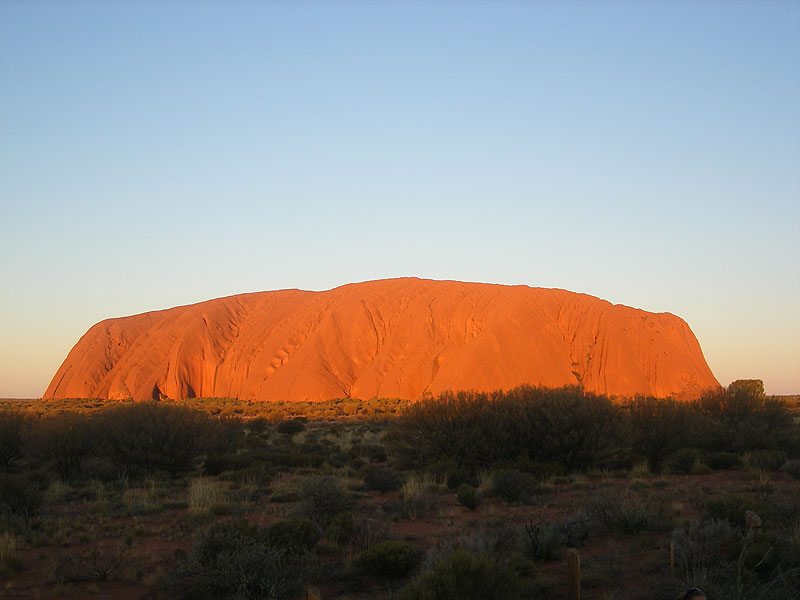 Uluru gorgeously lit up at sunset. Photo by Liz Cameron