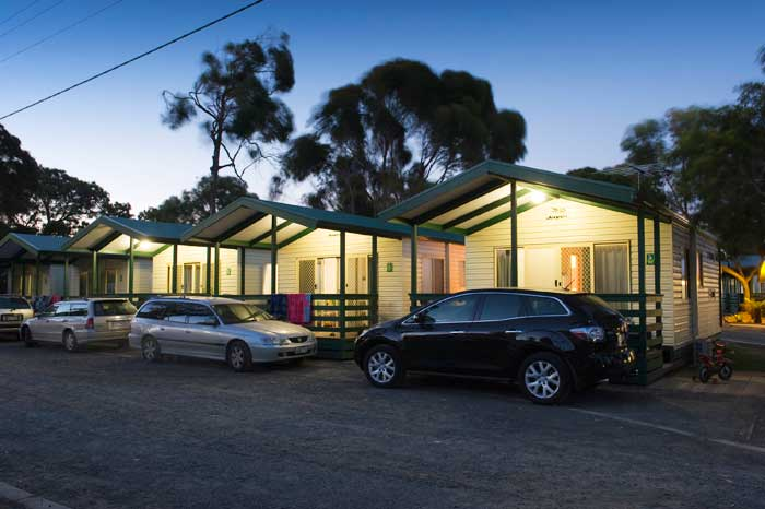 The affordable beach cabins at Big4 Phillip Island Caravan Park