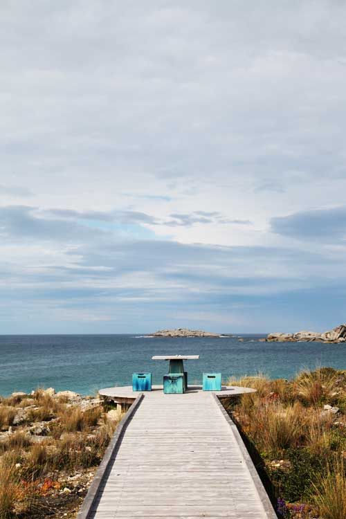 The walkway to the sea at the bottom of the lodge, a serene spot to enjoy the view