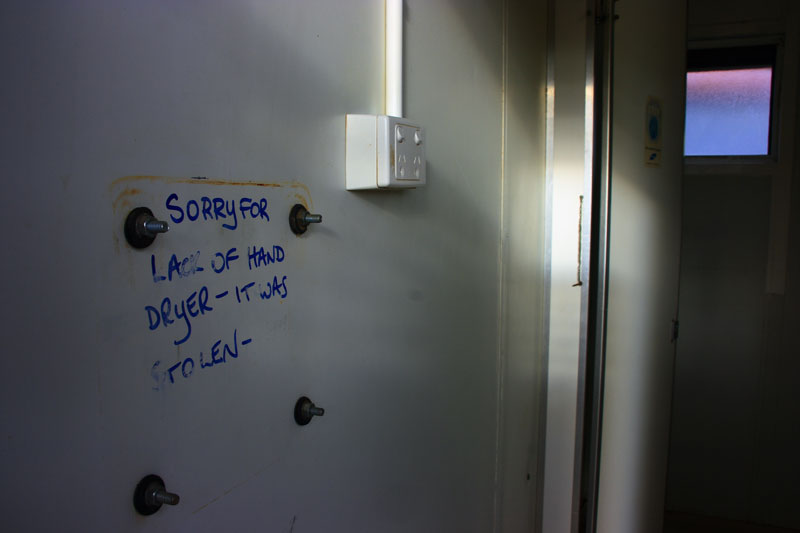 In a truckstop bathroom on the drive north from Perth, WA, by Robert A. Forster