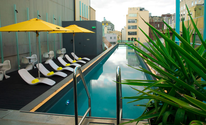 Plunge into the Adelphi Hotel pool