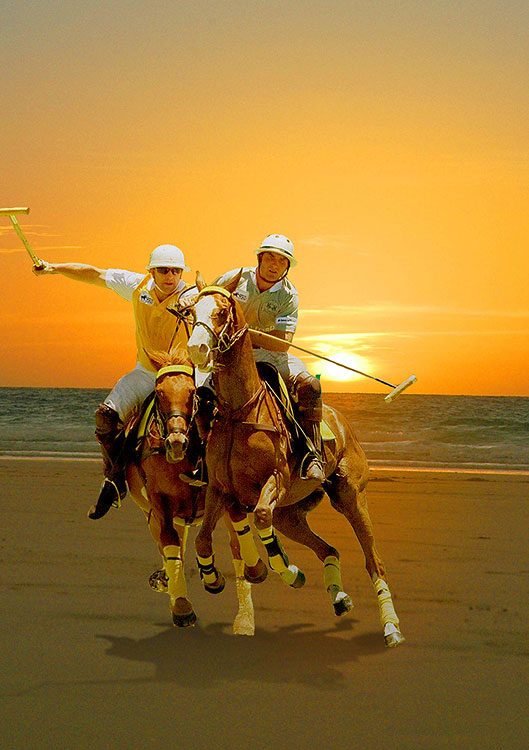An artist's impression of beach polo players in action on Cable Beach in Broome.