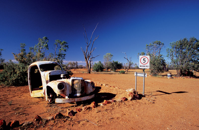 A broken down wreck of a car at Mount Dare Station. Image by  Robyn Rosenfeldt
