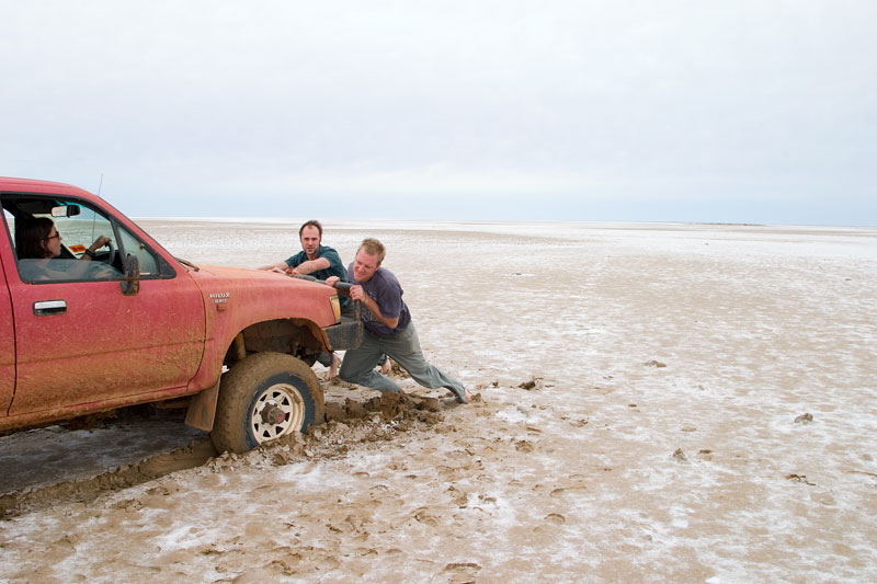 A close escape on Lake Eyre. Image by Robyn Rosenfeldt